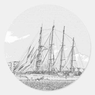 帆スケッチの下の船 ラウンドシール