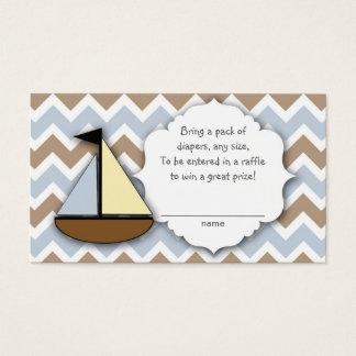帆ボートのおむつのラッフルのチケットか挿入物カード 名刺