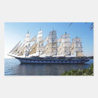 帆ボートのスクーナー船のヨット 長方形シール