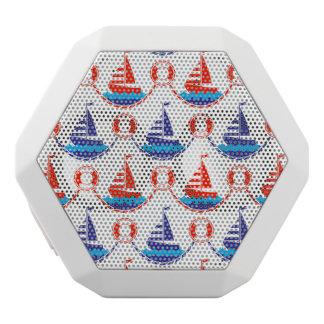 帆ボートパターン ホワイトBluetoothスピーカー