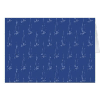 帆ボートパターン。 濃紺。 カード