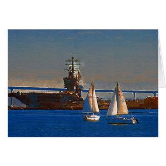 帆ボート、サンディエゴ港、カリフォルニア カード