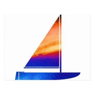 帆ボート-青いnの赤 ポストカード