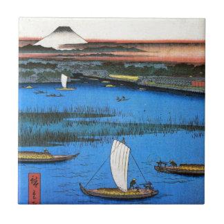 帆掛け舟と富士、広重の帆船及び富士山、Hiroshige タイル