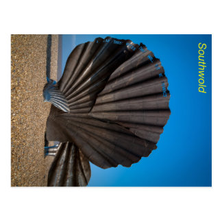帆立貝の彫刻、Southwoldのサフォーク ポストカード
