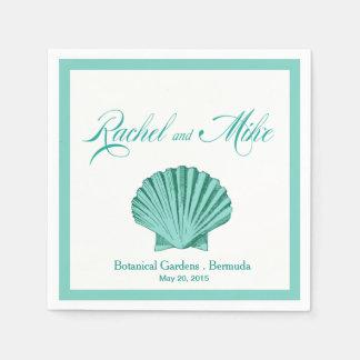 帆立貝の貝殻のビーチ結婚式|の水 スタンダードカクテルナプキン