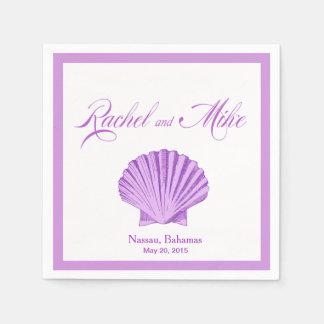帆立貝の貝殻のビーチ結婚式|の薄紫 スタンダードカクテルナプキン