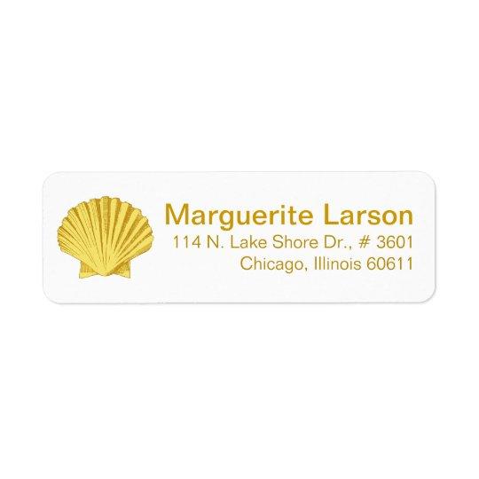 帆立貝の貝殻のビーチ の黄色 返信用宛名ラベル