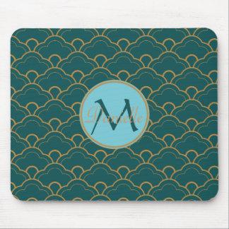 帆立貝の青緑のティール(緑がかった色)の金ゴールドの日本語Seigaiha マウスパッド
