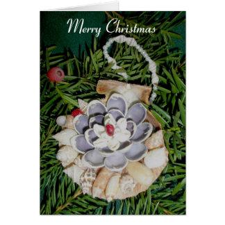 帆立貝貝のオーナメントのメリークリスマスカード カード