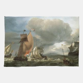 帆船および州のヨットの留まること キッチンタオル