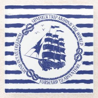 帆船が付いている航海のな紋章 ガラスコースター