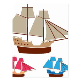 帆船のベクトルヴィンテージ ポストカード