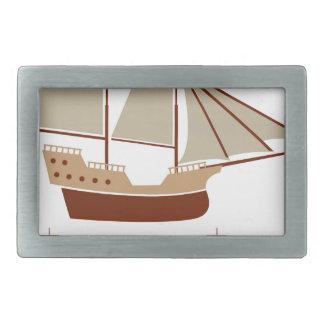 帆船のベクトルヴィンテージ 長方形ベルトバックル