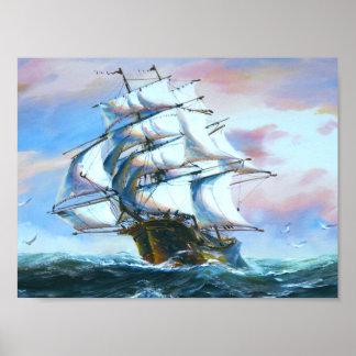 帆船の絵画ポスター ポスター