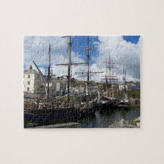帆船のCharlestown港のコーンウォールの写真 ジグソーパズル