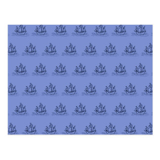 帆船パターン。 中間の青 ポストカード