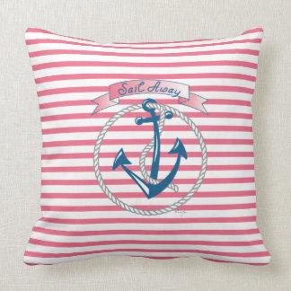 """""""帆遠くにな""""いかり、白いロープおよびピンクのストライブ柄 クッション"""
