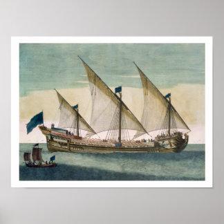 帆、SHオールによって進行中の3マストを立てられていたGalleass ポスター