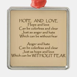 希望および愛詩の単一性の平和親切さのオーナメント シルバーカラー正方形オーナメント