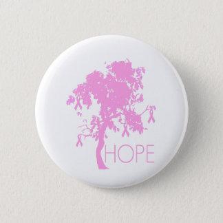 希望のピンクのリボン木 5.7CM 丸型バッジ
