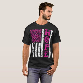 希望のピンクのリボン米国の旗の乳癌の認識度T Tシャツ