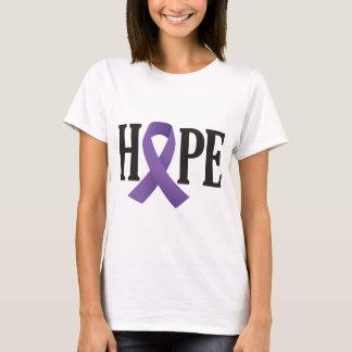 希望の紫色のリボン Tシャツ
