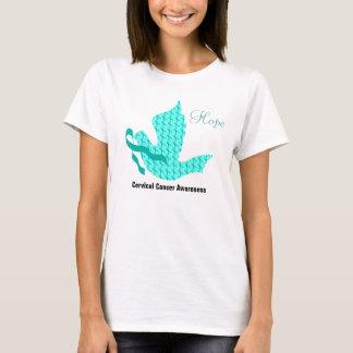 希望の鳩-ティール(緑がかった色)のリボン(子宮頸癌・) Tシャツ