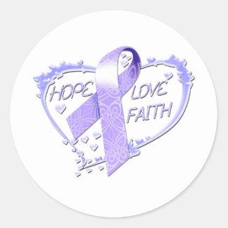 希望愛信頼のハート(紫色) ラウンドシール