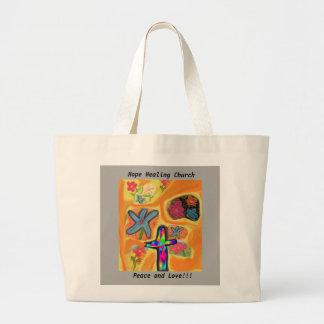 希望治療教会イエス・キリストの平和愛トートバック ラージトートバッグ