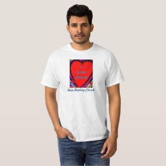希望治療教会I愛イエス・キリストのクリスチャンのTシャツ Tシャツ
