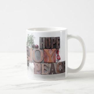希望、喜び、平和、noelのマグ コーヒーマグカップ