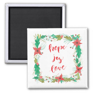 希望、喜び、愛-水彩画のクリスマスの磁石 マグネット