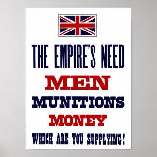 帝国の必要性の~の人、軍需品およびお金 ポスター