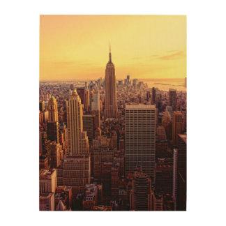 帝国国家が付いているニューヨークのスカイライン都市 ウッドウォールアート