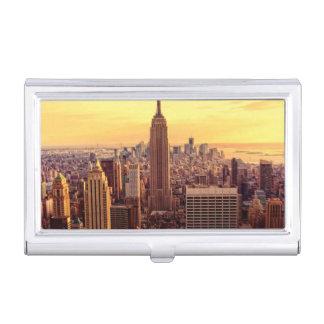 帝国国家が付いているニューヨークのスカイライン都市 名刺入れ