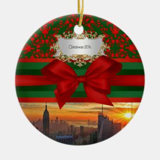 帝国St Bldgの日没NYC赤いGrnのダマスク織のクリスマス#2R セラミックオーナメント