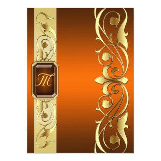 帝政ロシアの皇子宝石で飾られた金ゴールドスクロールオレンジの招待状 14 X 19.1 インビテーションカード