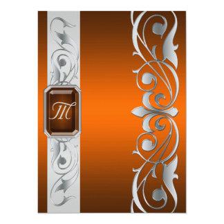 帝政ロシアの皇子宝石で飾られた銀製スクロールのオレンジの招待状 14 X 19.1 インビテーションカード