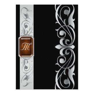 帝政ロシアの皇子宝石で飾られた銀製スクロールの黒の招待状 14 X 19.1 インビテーションカード