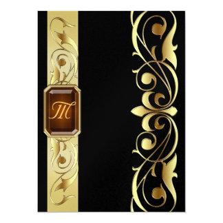 帝政ロシアの皇子宝石の金ゴールドスクロール黒の招待状 14 X 19.1 インビテーションカード