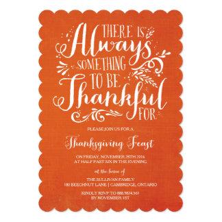 常に感謝している|リネン感謝祭の招待状 カード