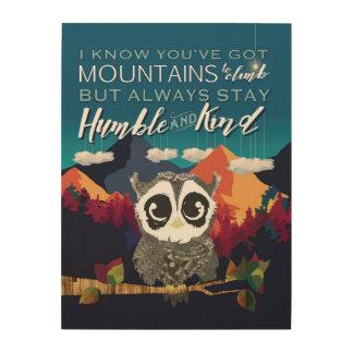 常に滞在の控え目でおよび親切な、フクロウおよび山の芸術 ウッドウォールアート