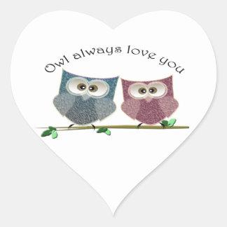 常のフクロウ愛あなたの、ピンクおよび青くかわいいフクロウの芸術 ハートシール