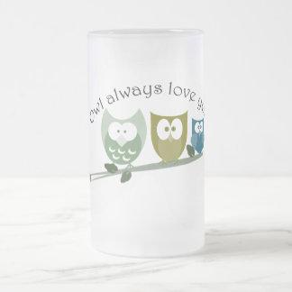 常のフクロウ愛のかわいいフクロウのデザイン フロストグラスビールジョッキ