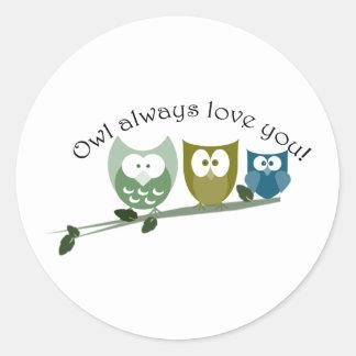 常のフクロウ愛のかわいいフクロウのデザイン ラウンドシール