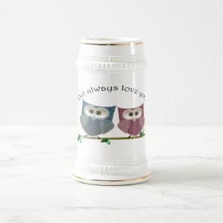 常のフクロウ愛のかわいいフクロウの芸術 ビールジョッキ