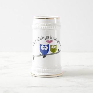 常のフクロウ愛3Dハートとの、 ビールジョッキ