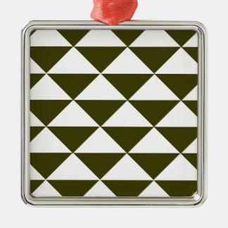 常緑および白い三角形 メタルオーナメント