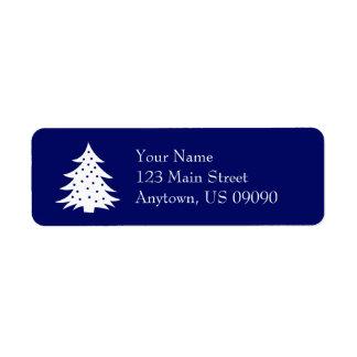 常緑のクリスマスツリーの宛名ラベルの濃紺 ラベル